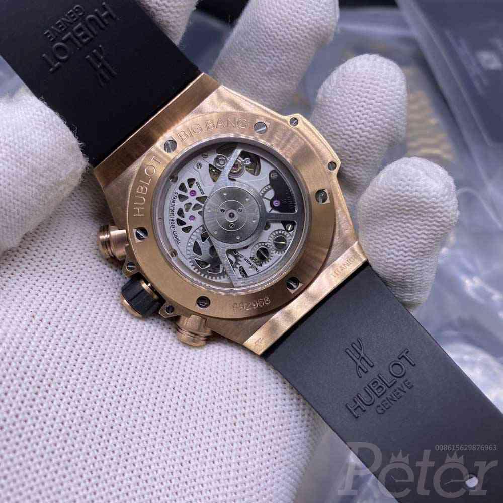 Hublot Big Bang diamonds rose gold case black rubber strap full works 7750 top grade XD195