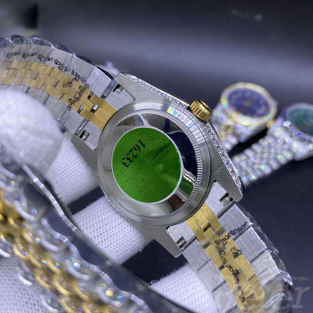 Datejust 36mm diamonds 2tone gold case red dial arabic numbers jubilee women shiny watches MH105