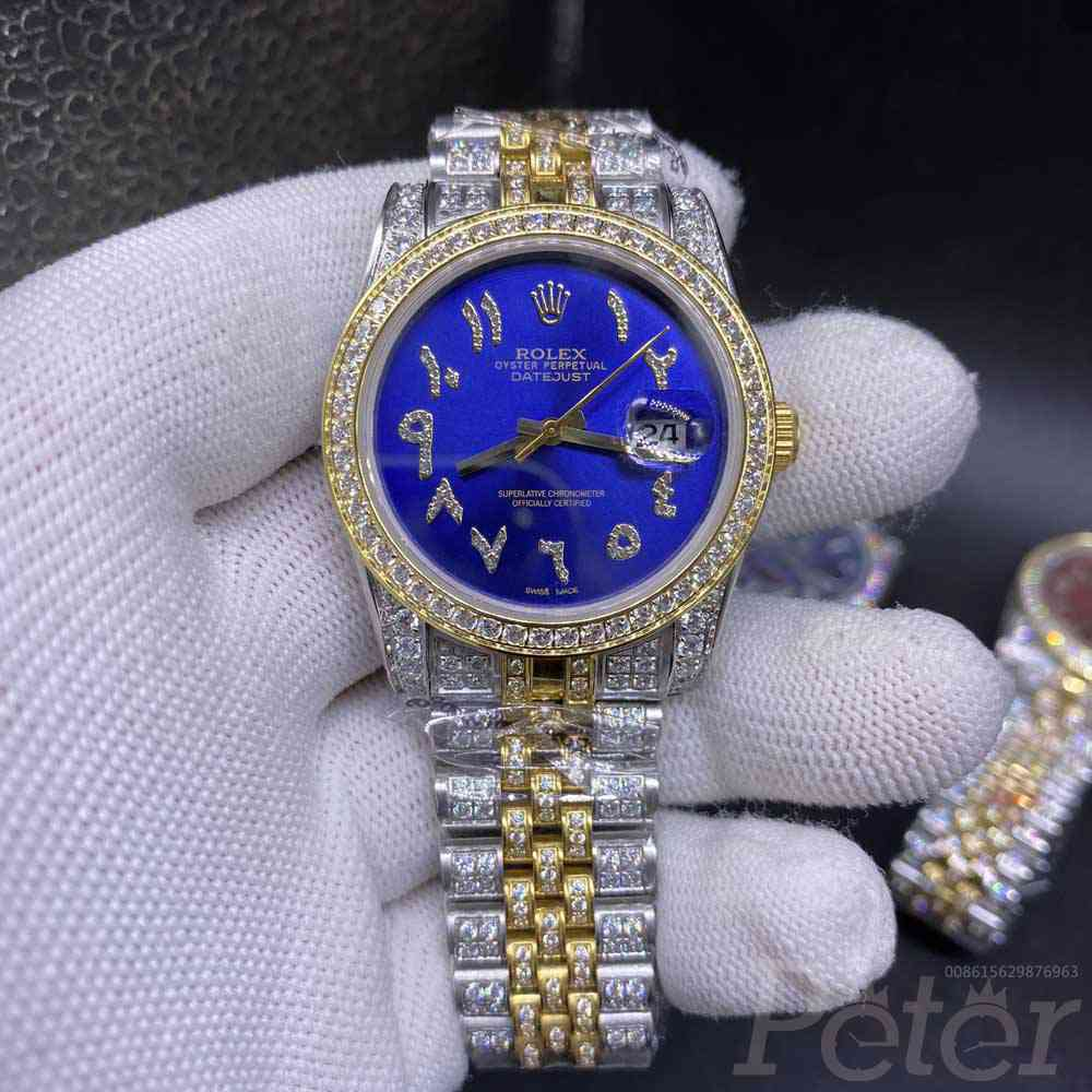 Datejust 36mm diamonds 2tone gold case blue dial arabic numbers AAA automatic MH105