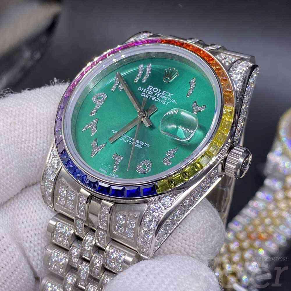 Datejust 36mm silver case green dial rainbow baguette diamonds bezel jubilee band MH105