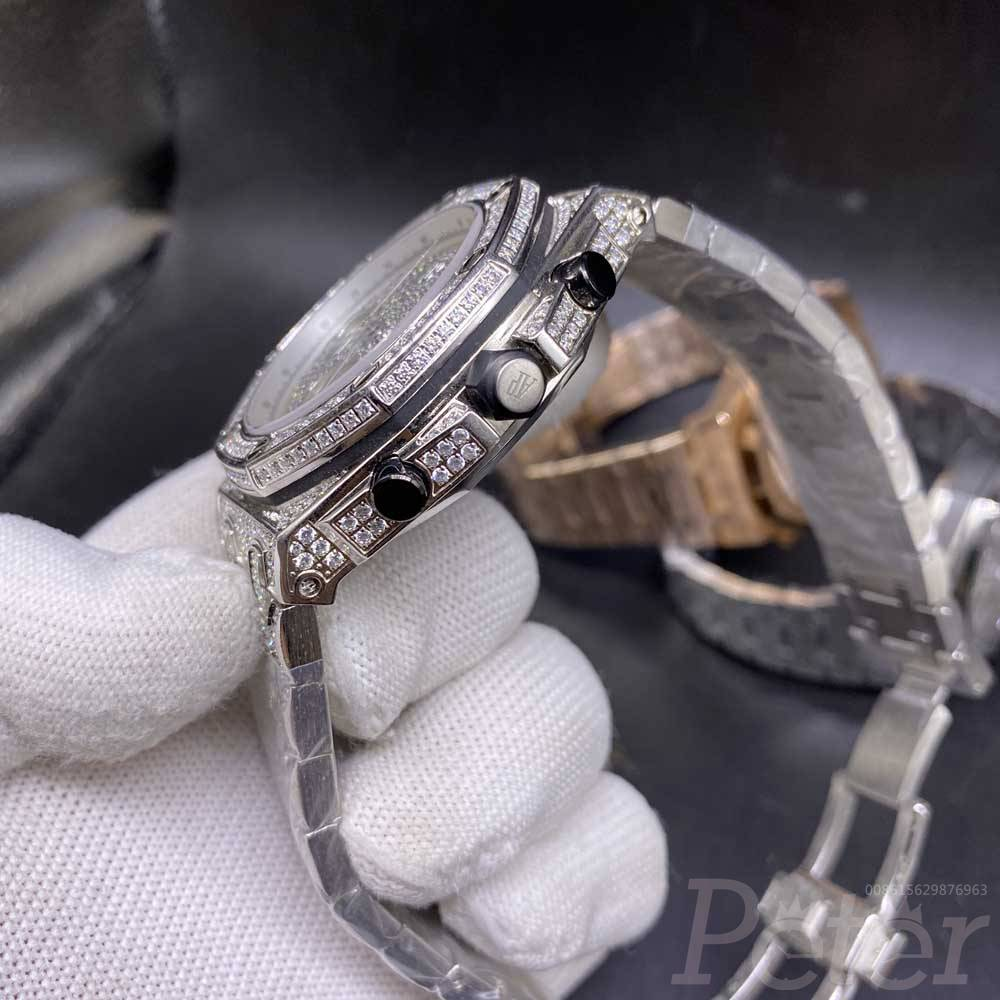 AP full iced out silver 42mm vk quartz full works chronograph functions men stopwatch M120