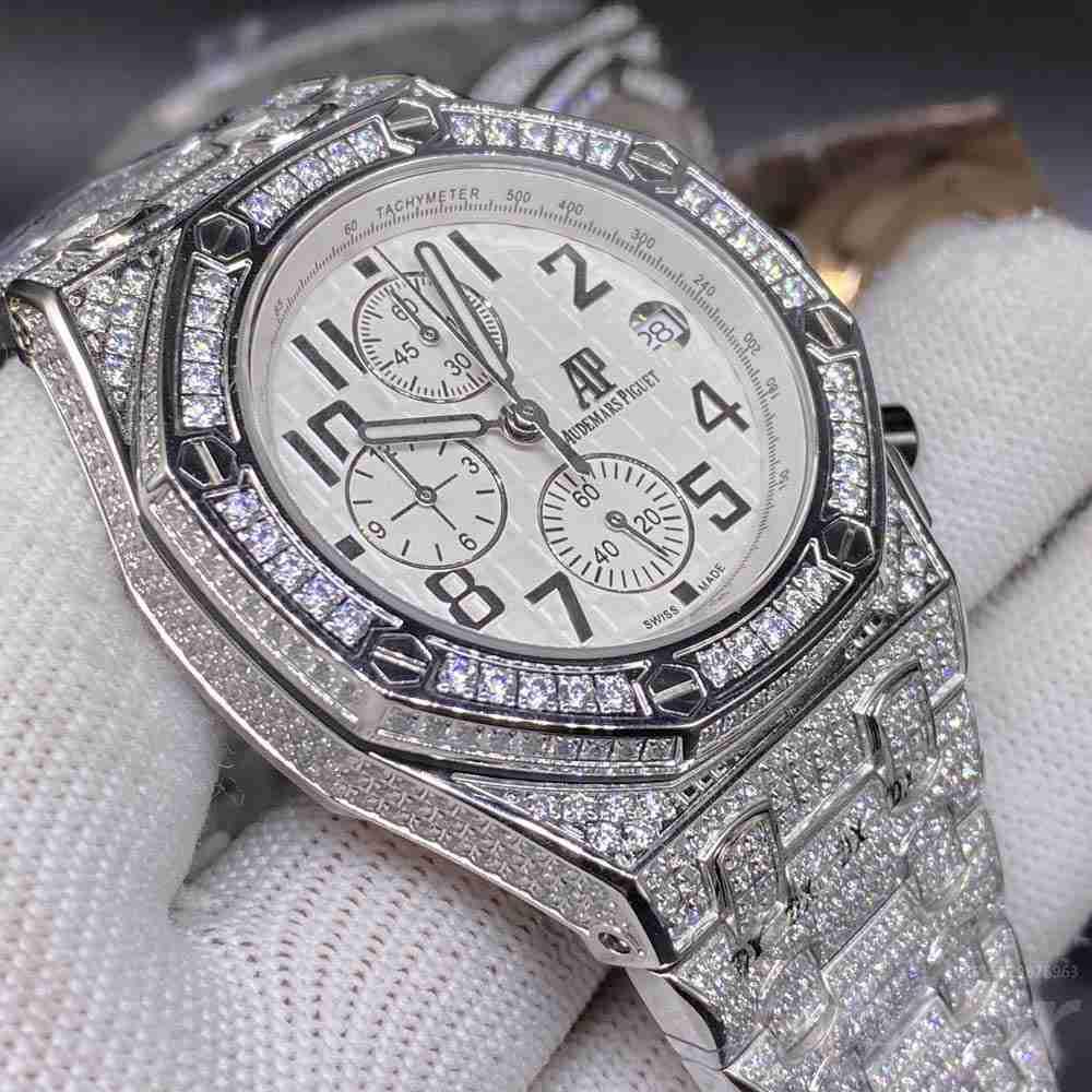 AP quartz movement diamonds silver case 42mm white dial full works men stopwatch M100