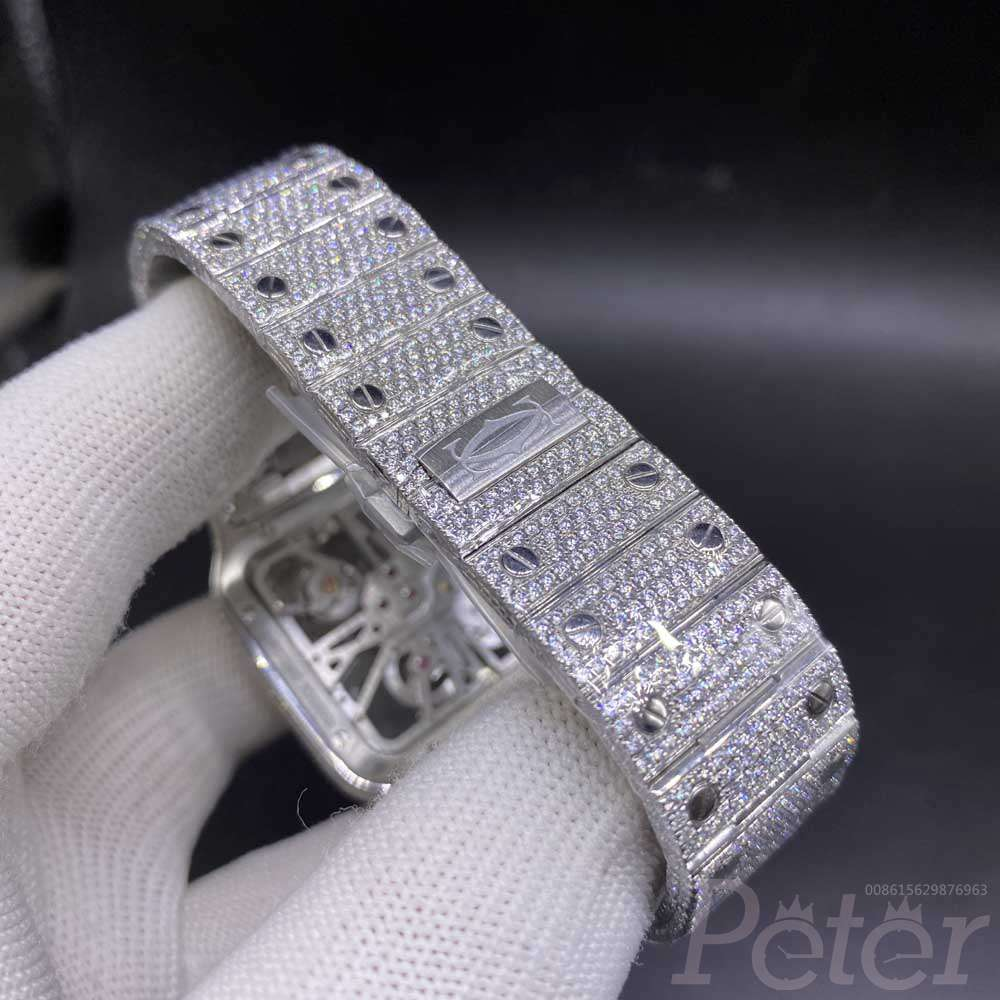 Cartier skeleton diamonds moissanite stones can pass diamonds tester quartz movement 38mm