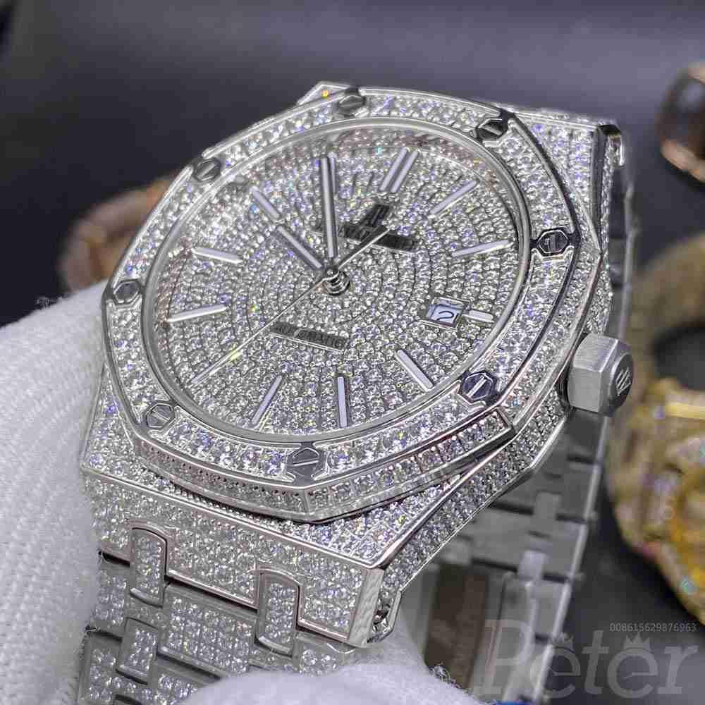 AP full diamonds silver case 42mm AAA automatic men shiny watch YC140