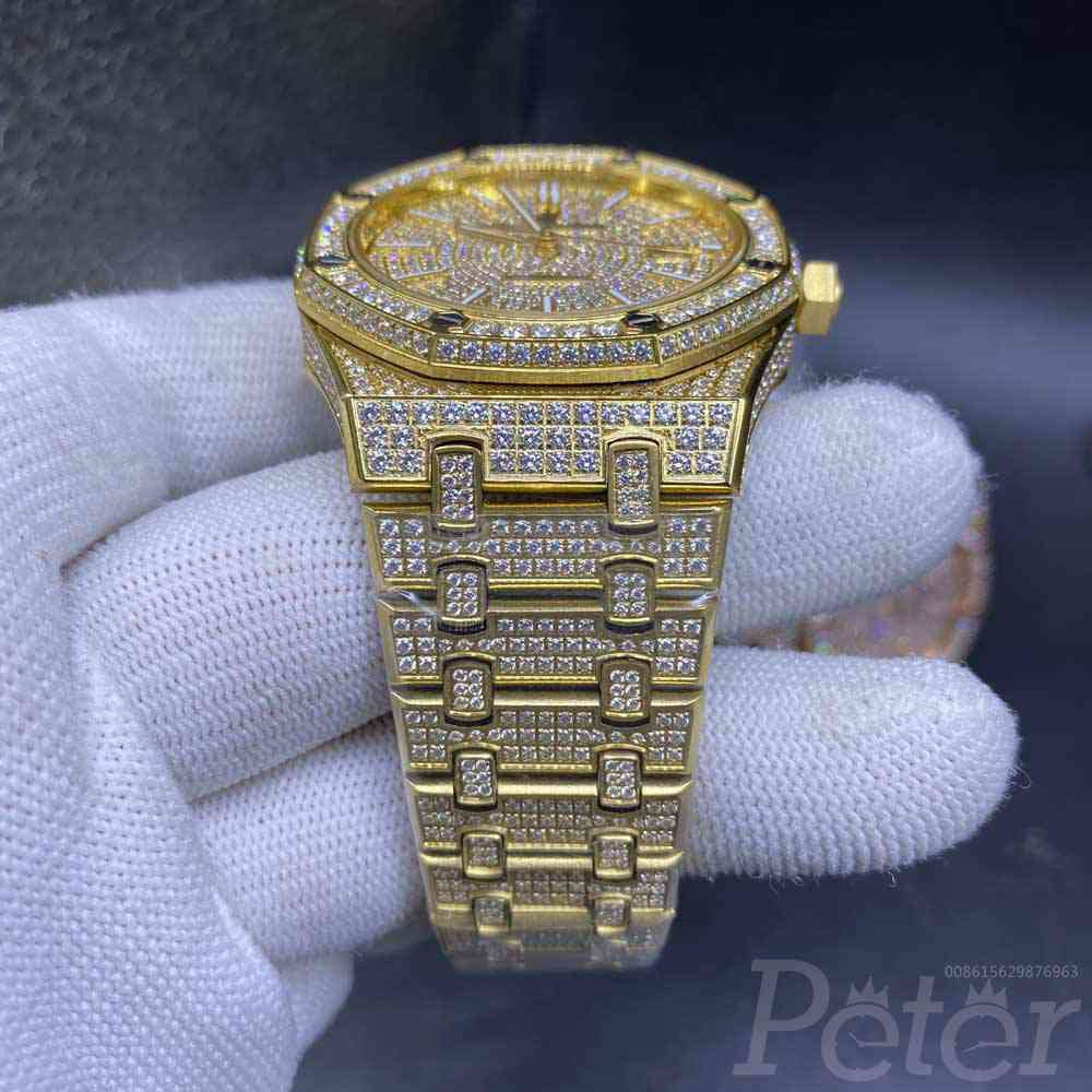 AP iced out gold case 42mm shiny zircon stones diamonds face AAA automatic men watch YC140