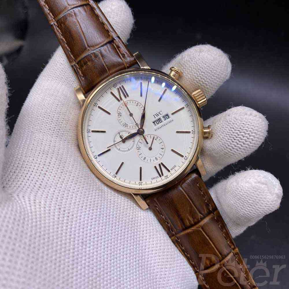 IWC rose gold case 44.5mm brown leather strap quartz movement AAA men stopwatch M027