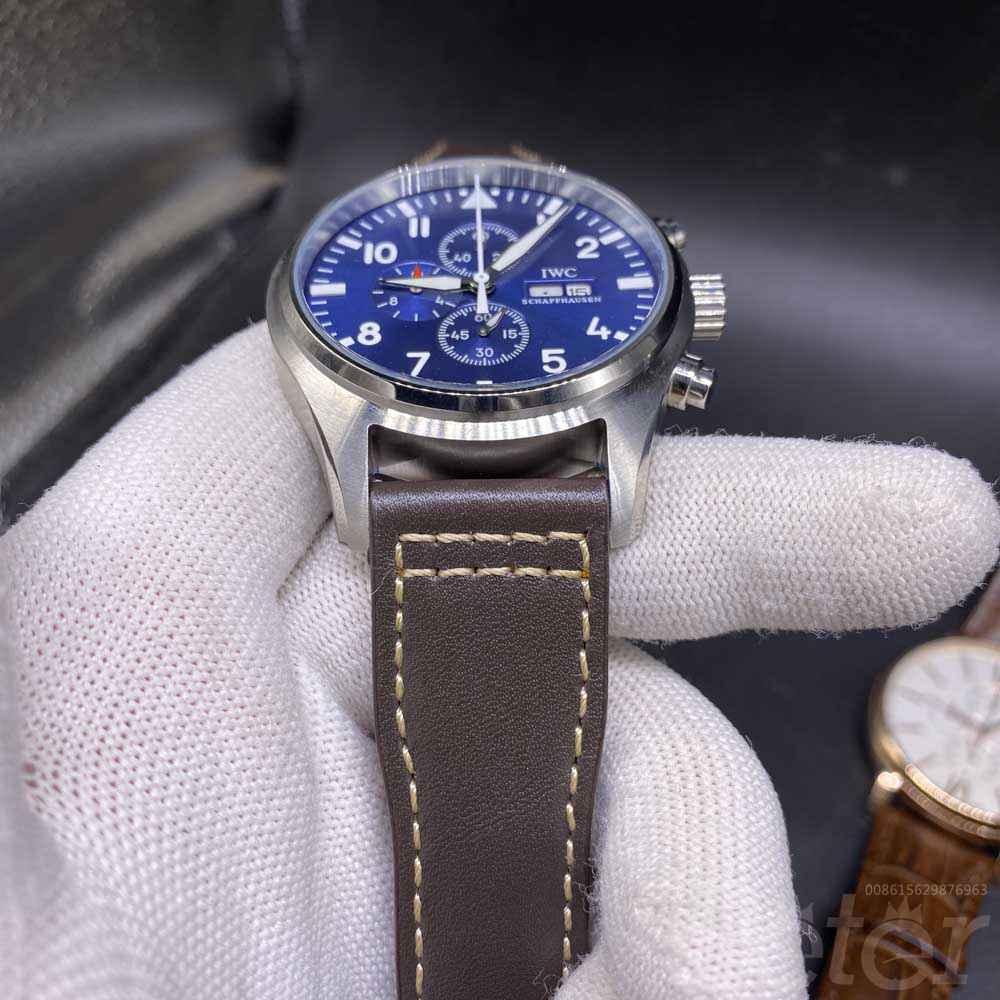 IWC silver/blue 44mm brown leather AAA quartz movement men stopwatch M024