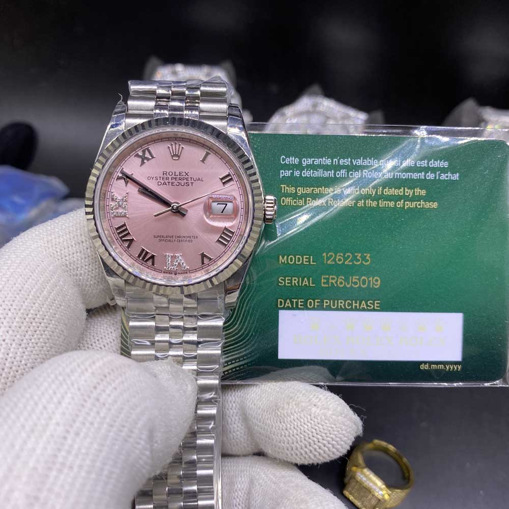 Datejust EW factory 36mm pink dial roman numbers jubilee band 3235 movement WT110