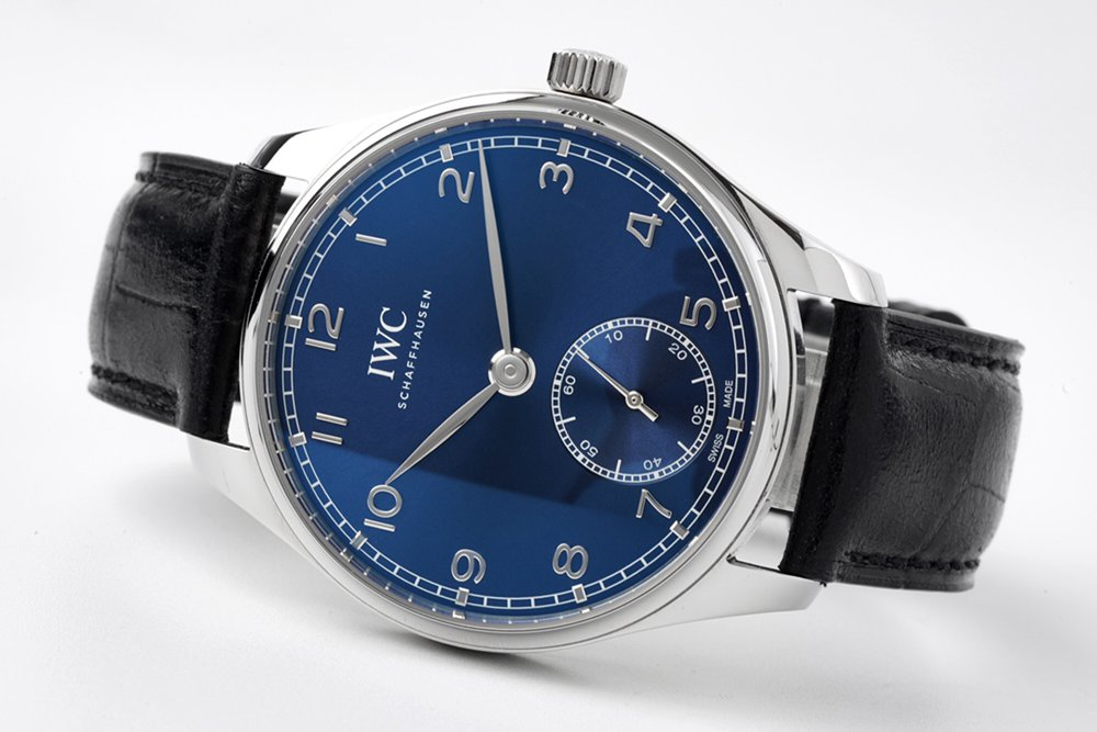 IWC 40mm ZF factory silver/blue Swiss grade 82200 black leather strap WT