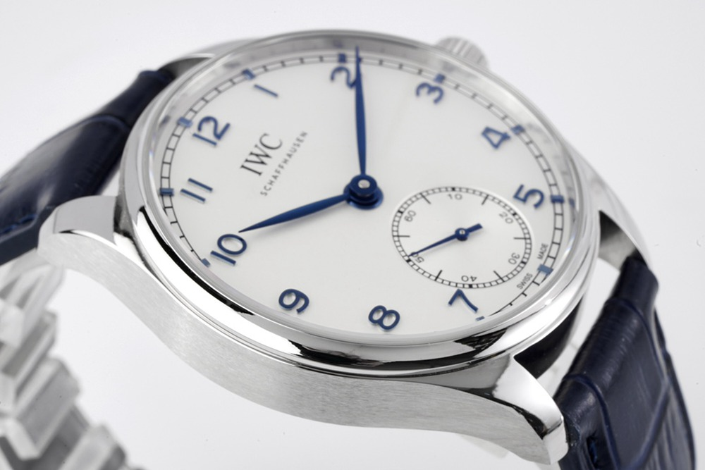 IWC 40mm Swiss grade ZF factory automatic 82200 silver case blue leather blue numbers WT