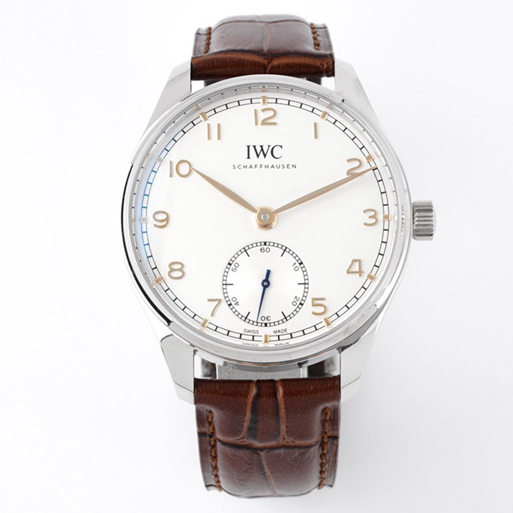 IWC 40mm silver case rose gold numbers ZF 82200 automatic sapphire crystal brown leather WT