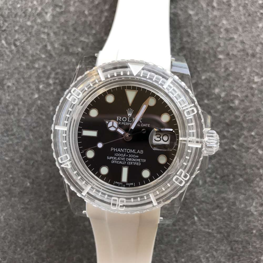 SUB GR factory 2021 new model crystal case black face white rubber 3135 movement WT220