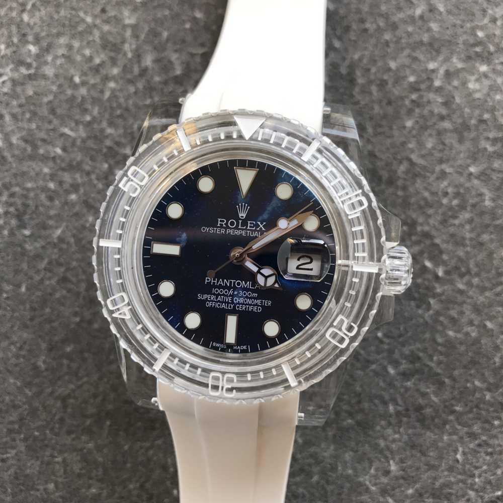 SUB PHANTOMLAB crystal case blue pearl dial white rubber GR factory 2021 new model WT220