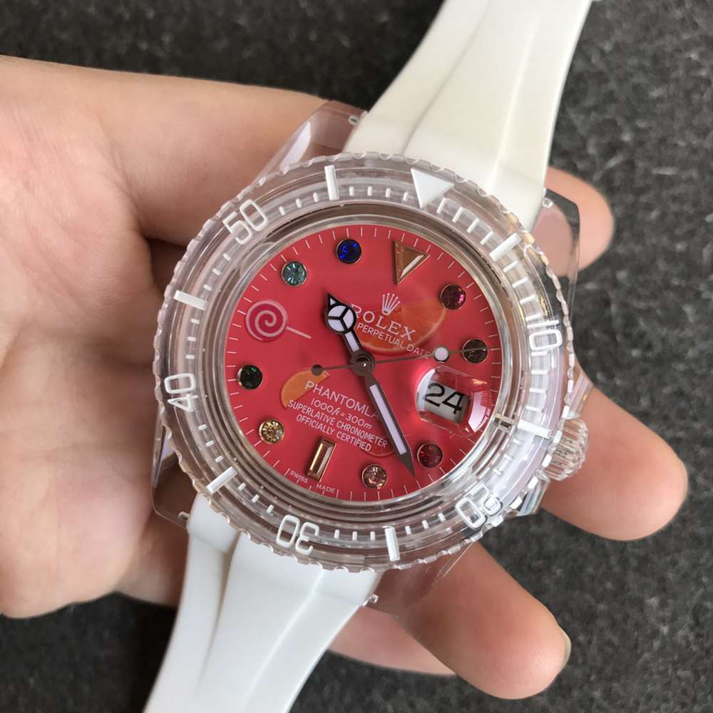 SUB Phantomlab Swiss 3135 crystal see-through case white rubber red dial GR factory WT220