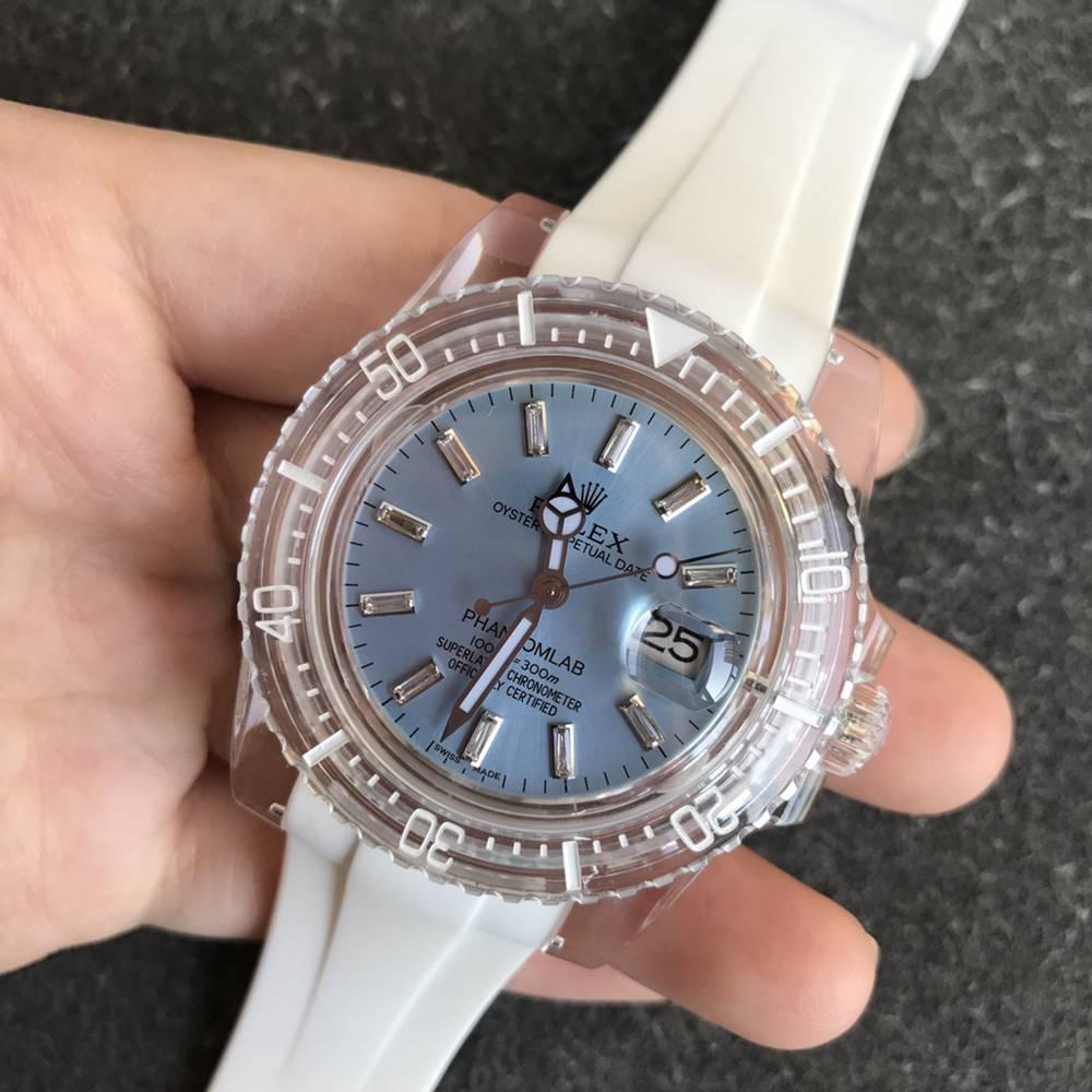 SUB Phantomlab crystal see-through case white rubber strap blue dial GR 3135 WT220