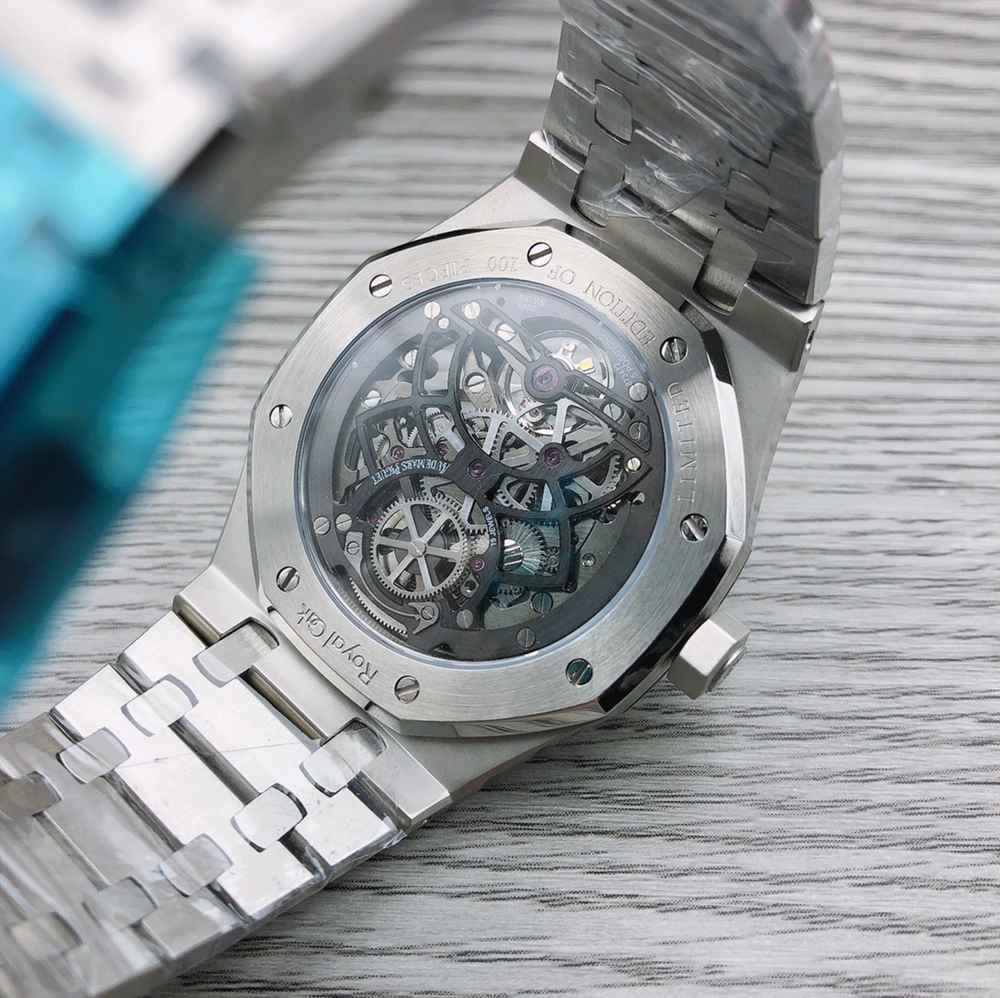 AP skeleton silver case 41mm Swiss grade hands-winding movement Tourbillon clone WS115