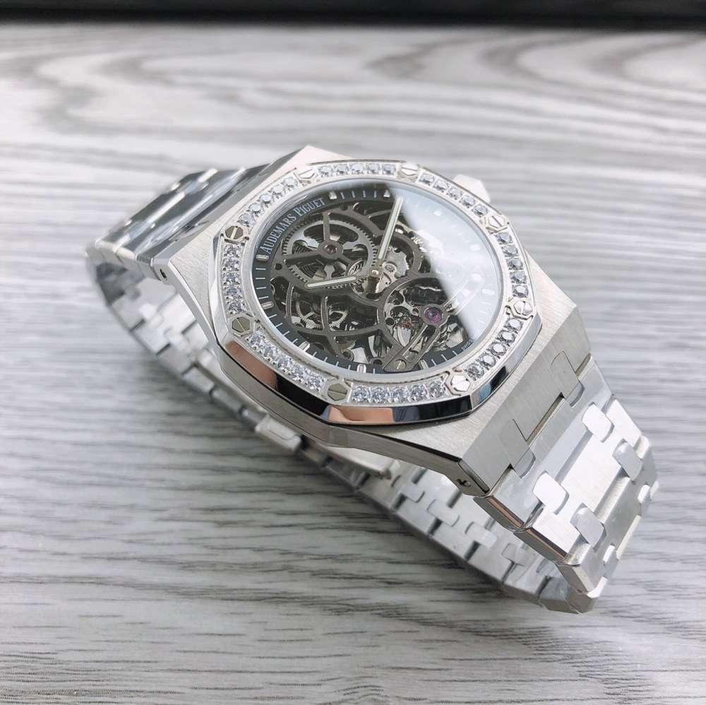 AP skeleton silver case 41mm diamonds bezel stainless steel men watch hands-winding WS120