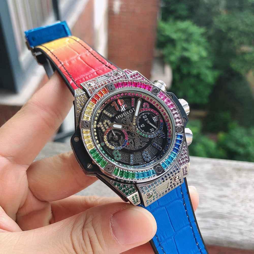 Hublot Unico Perpetual VK quartz diamonds colorful chronograph full works XJ060