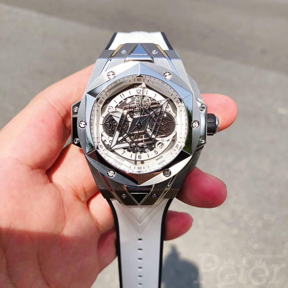 Hublot Sang Bleu II silver case white rubber Chronograph 7750 automatic XDxxx