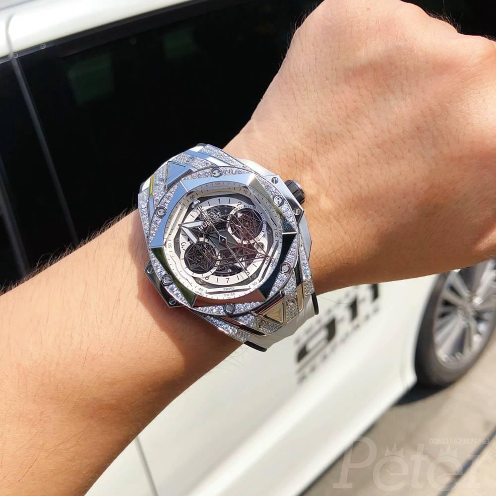 Hublot Big Bang Sang Bleu II diamonds silver case 45mm automatic 7750 XD190