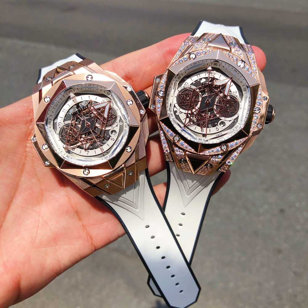 Hublot rose gold Sang Bleu II 45mm 7750 automatic sapphire crystal white rubber XD