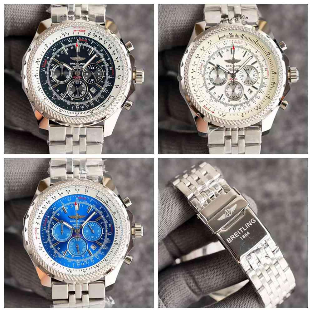 Breitling quartz silver case white/black/blue dials men stainless steel watches WS040