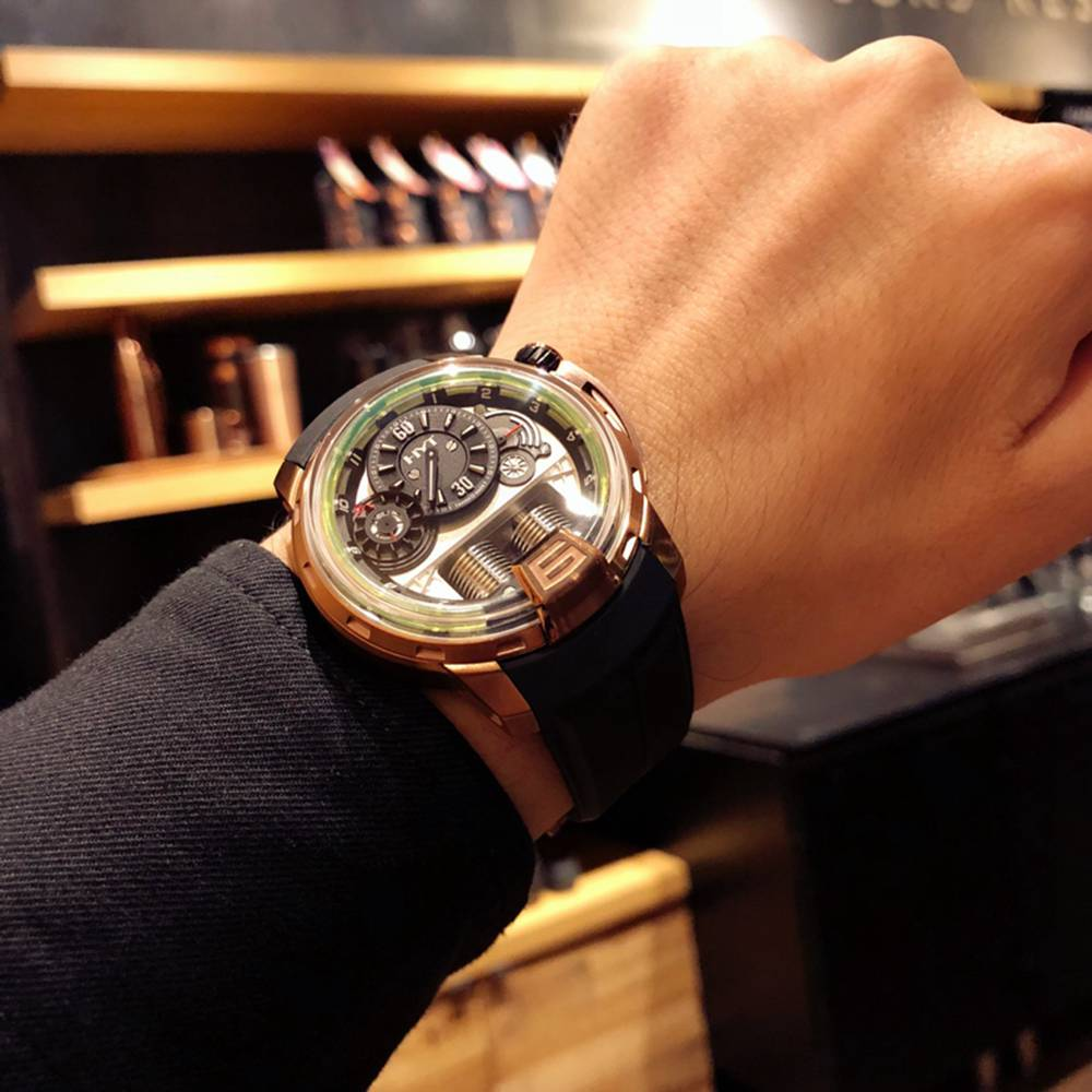 HYT rose gold case 45mm Seiko NH05 automatic black rubber strap XD098