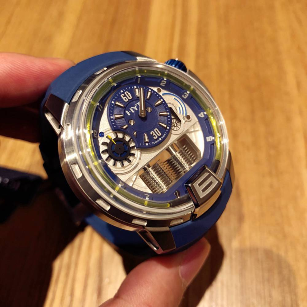 HYT silver case 45mm blue rubber strap Seiko automatic NH05 movement men watch XD098