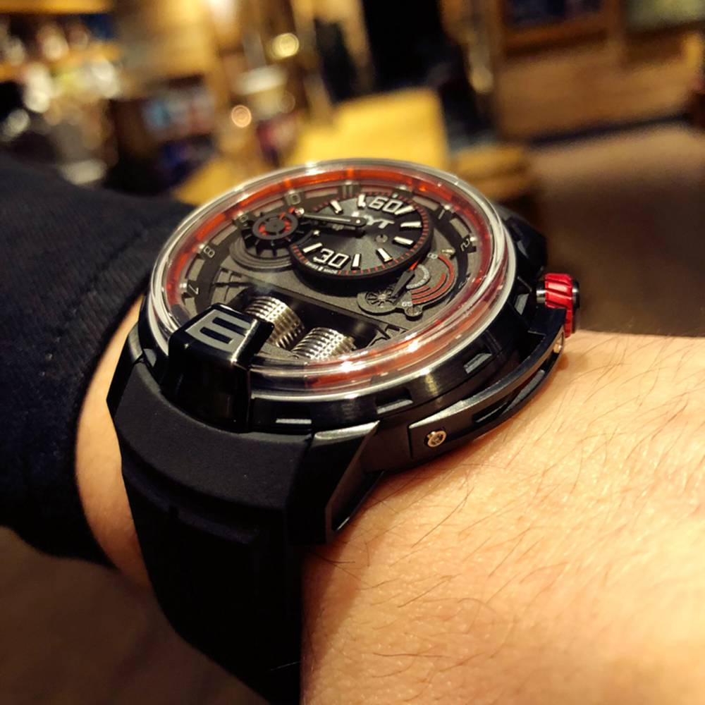 HYT black steel case 45mm Seiko NH05 automatic movement black rubber strap red crown XD098