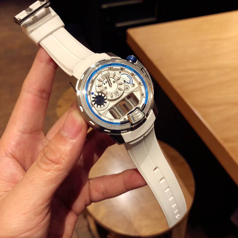 HYT Seiko NH05 automatic 45mm silver case white rubber XD098