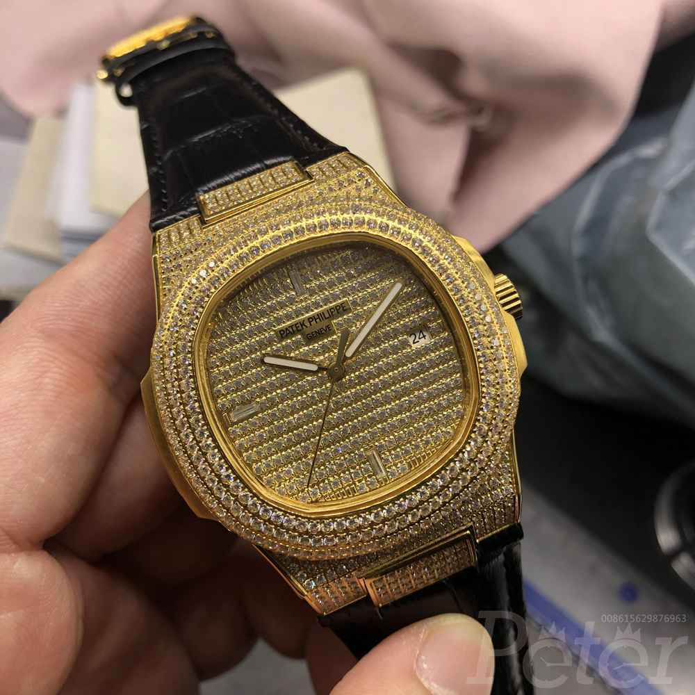 Patek diamonds gold case 40mm with black leather strap AAA automatic XJ080
