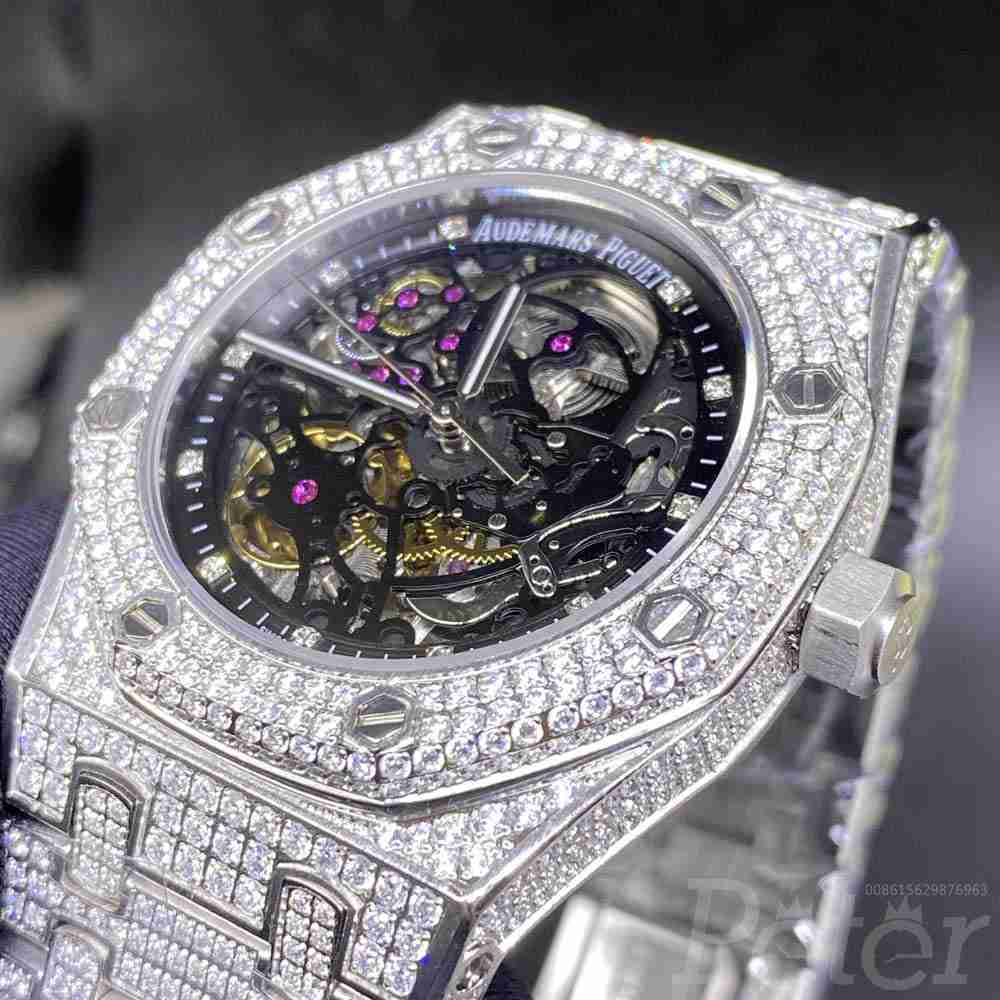 AP skeleton dial 39mm full diamonds silver case AAA automatic luxury shiny stones BL180