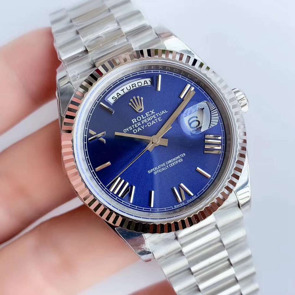 DayDate 3255 silver case 39mm blue dial roman numbers high grade Noob