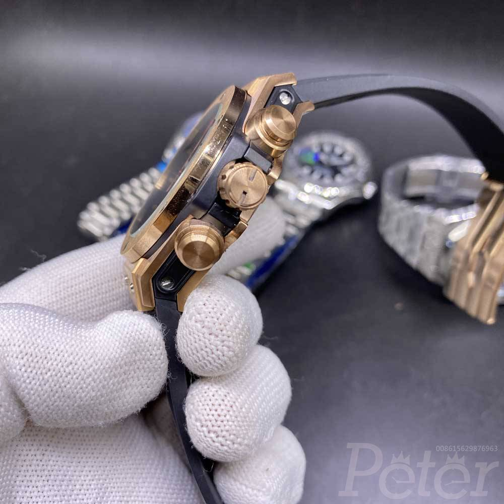 Hublot rose gold case case 42mm bezel vk quartz AAA full works black rubber stopwatch XJ028