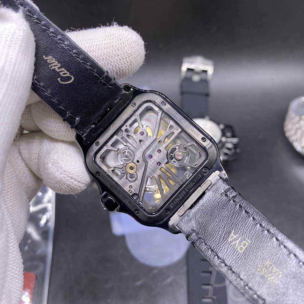 Cartier skeleton black see-through thin case 38mm black leather strap Swiss quartz WS140