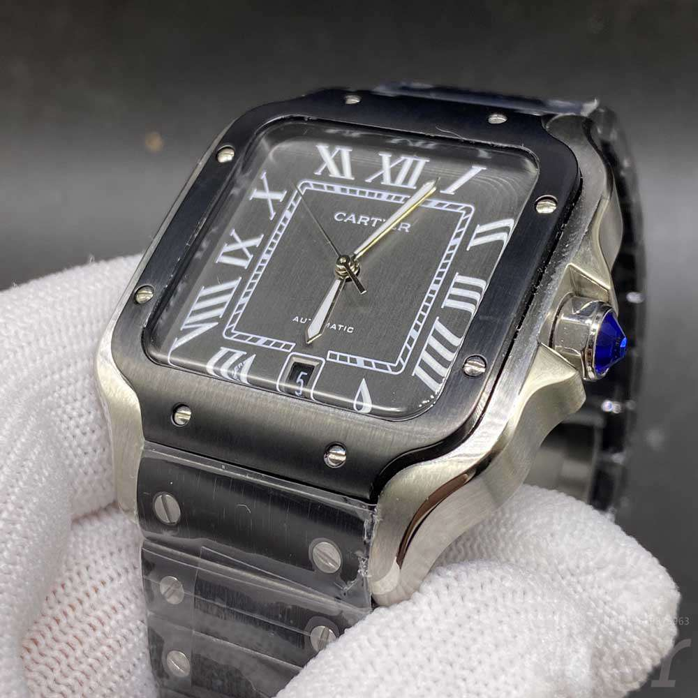 Cartier silver and black steel case 38.5mm black strap automatic AAA men watch HZ034