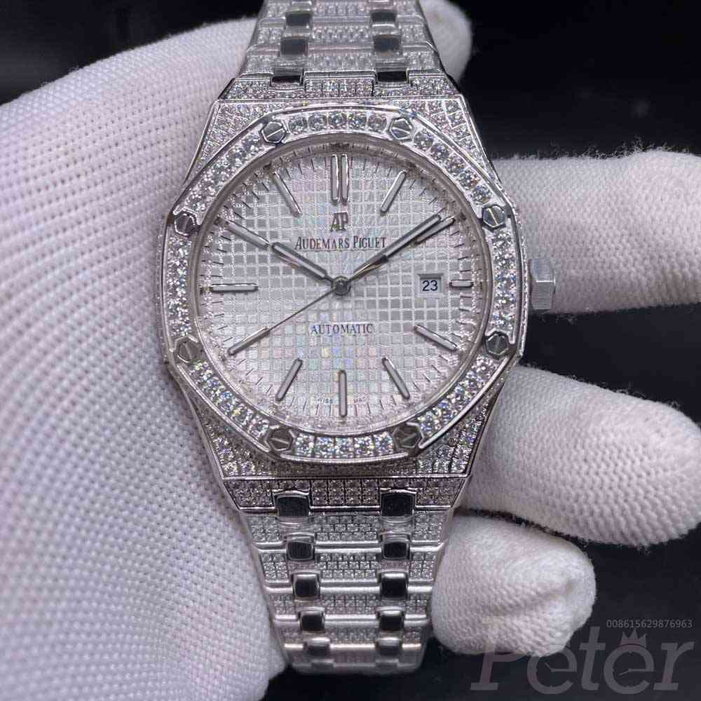 AP diamonds silver case 42mm white dial AAA automatic men shiny stones watch YC105