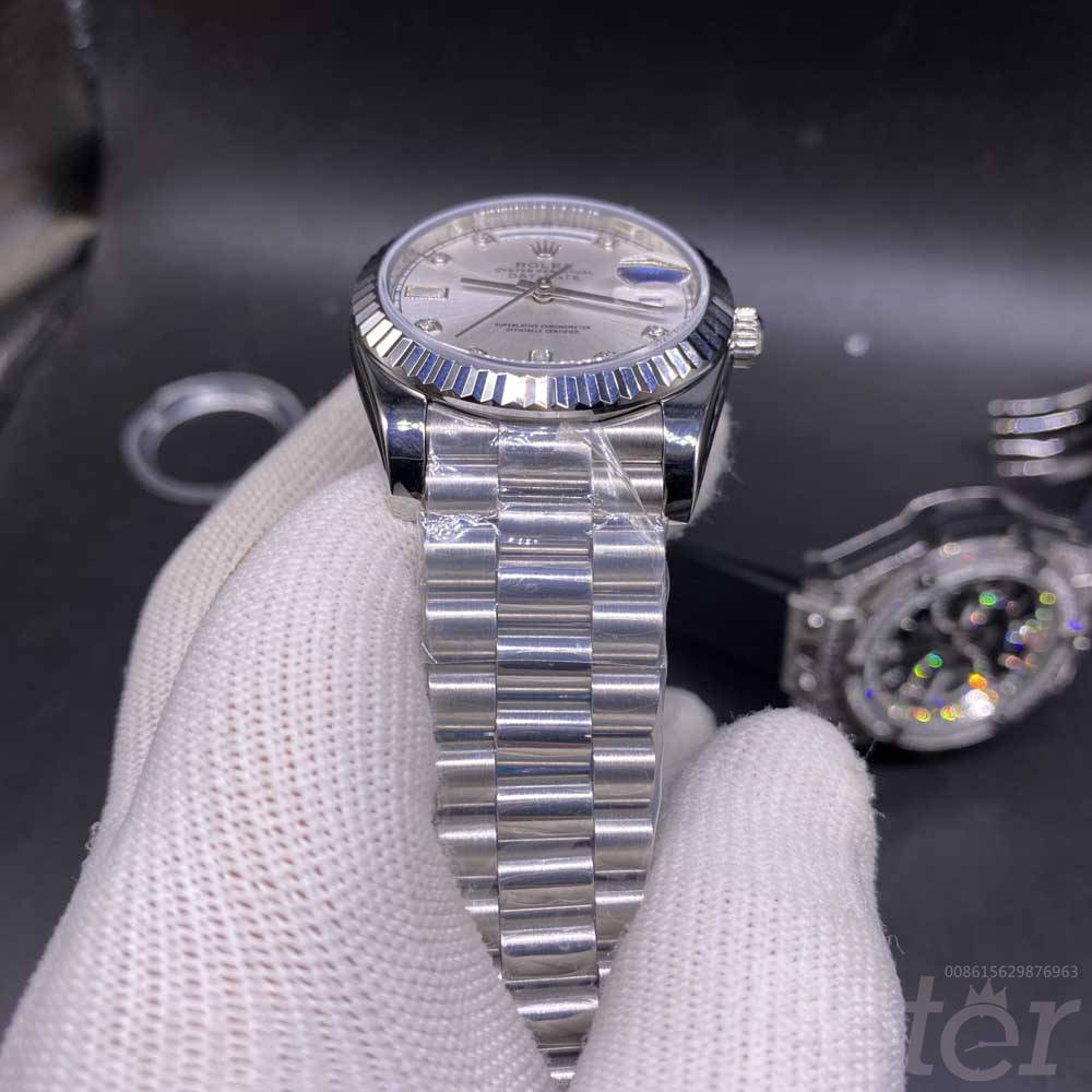Daydate 36mm silver stainless steel automatic AAA+ 2813 silver dial women watch YT034