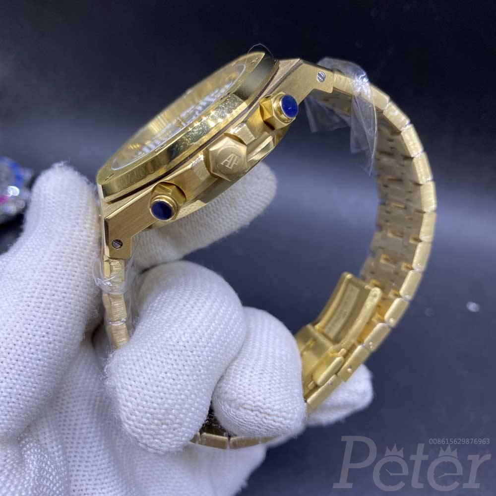 AP yellow gold case 42mm VK quartz full chronograph function white dial men stopwatch XJ030