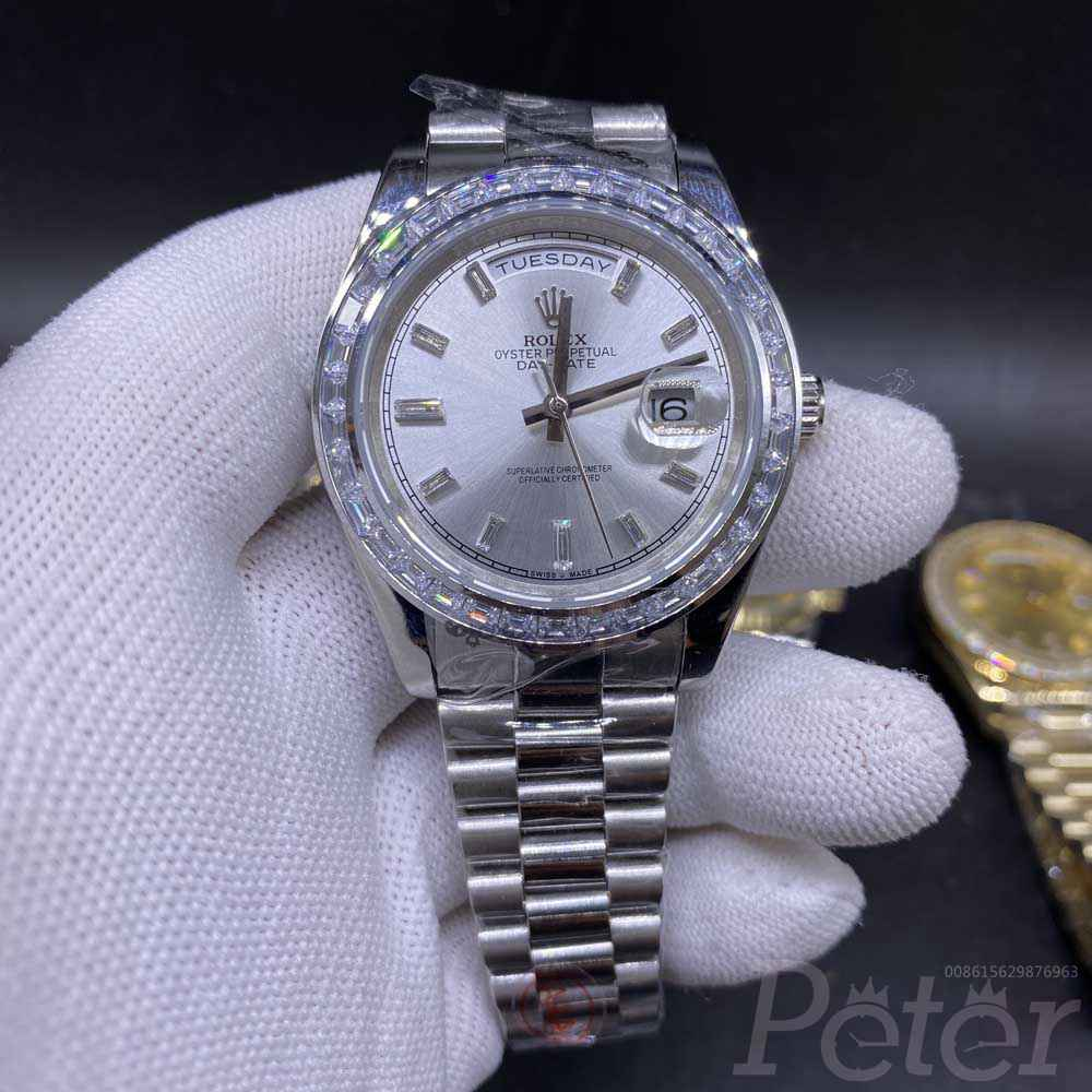 DayDate 41mm gold and silver baguette diamonds bezel stone numbers AAA automatic S034