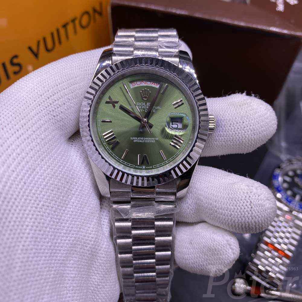 DayDate 40mm AAA+ automatic 2813 movement green dial roman numbers men watch YT033