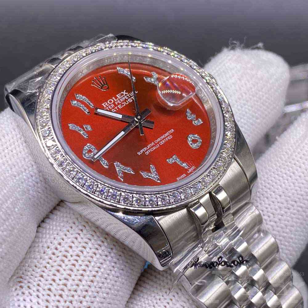Datejust AAA automatic silver case 36mm red dial stone Arabic numbers women watch MH023