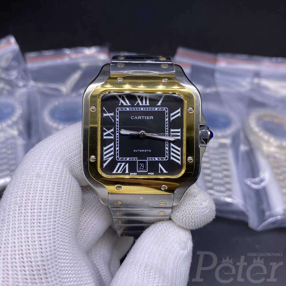 Cartier Santos two tone gold stainless steel case 38mm white/black dial AAA automatic HZ034