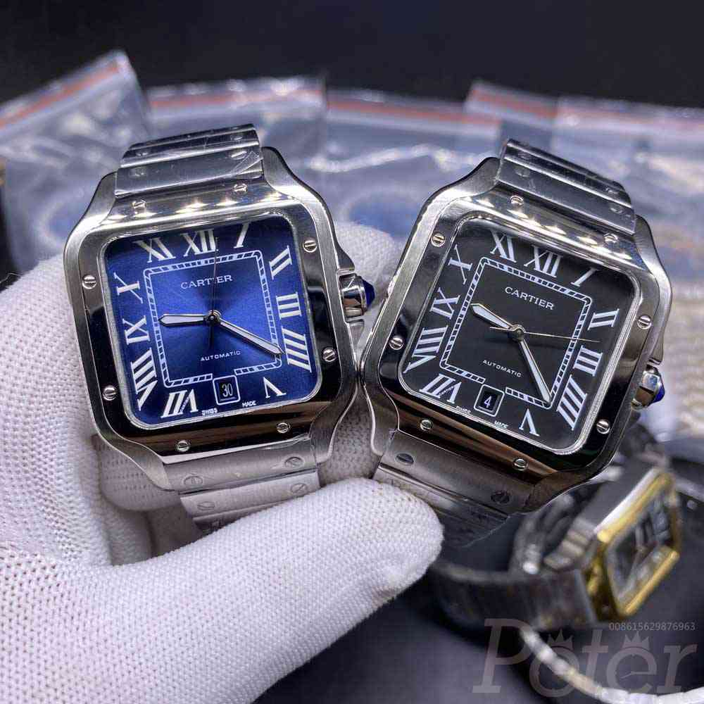 Cartier Santos automatic AAA 38mm stainless steel case blue/black dial replica watches HZ034
