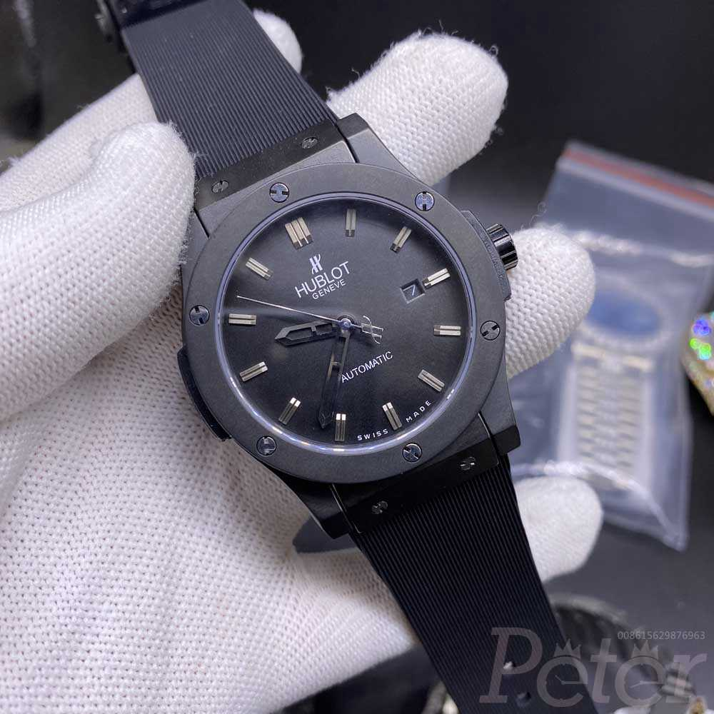 Hublot black case 42mm black dial AAA automatic black rubber strap men watch XJ022