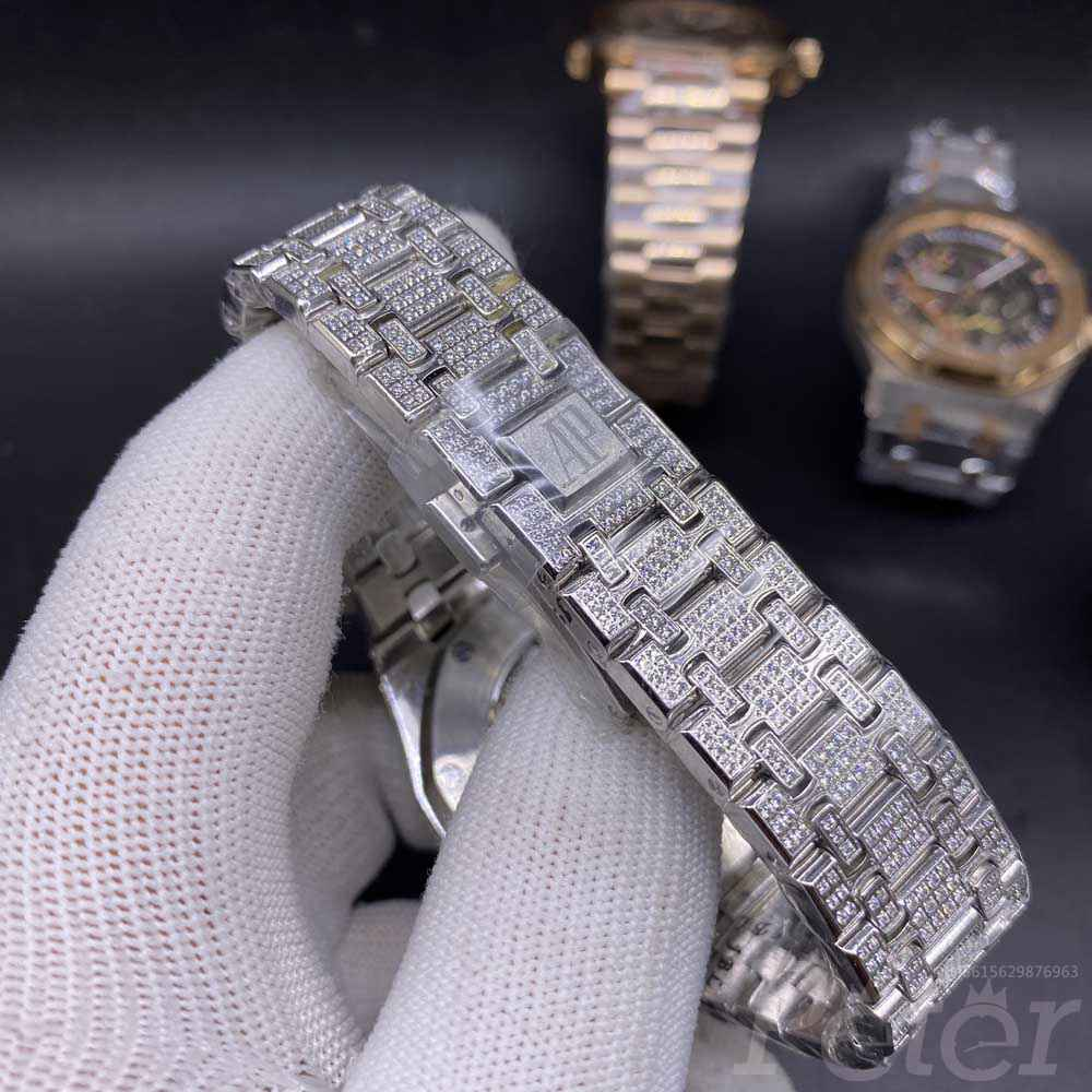 AP full diamonds steel case white dial AAA automatic high quality shiny watches M110