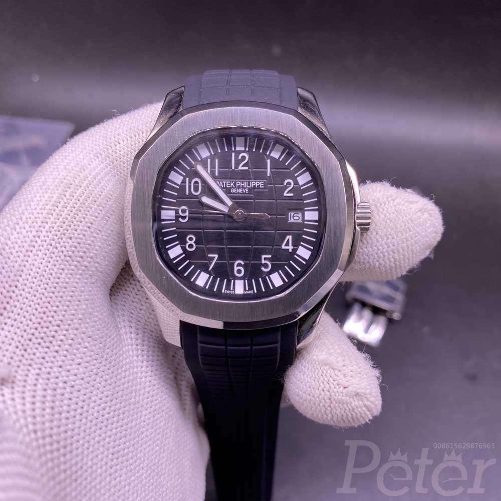 Patek AAA automatic silver case 41mm black dial black rubber men watch XJ024