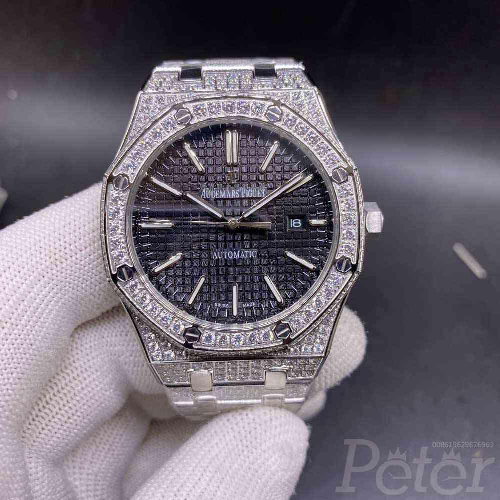 AP diamonds steel case 42mm black dial automatic movement glass back shiny zircon stones YC105