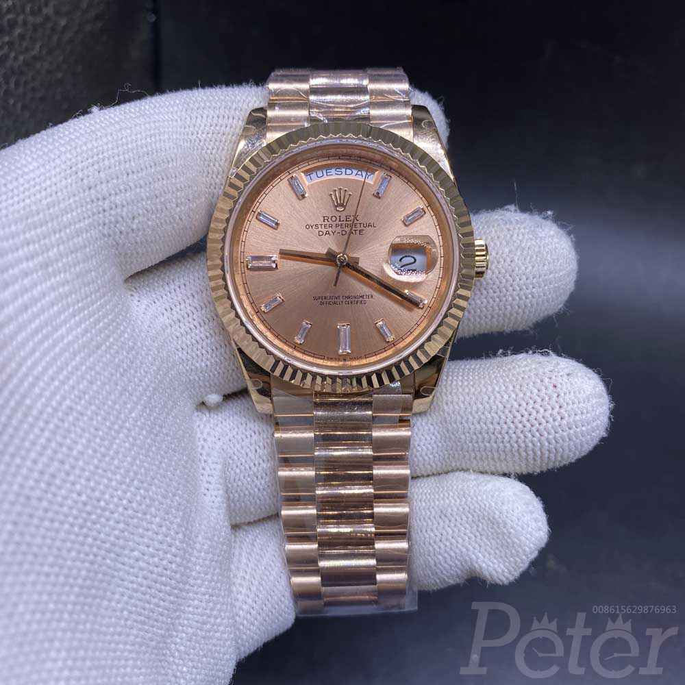 DayDate BP factory 2824 automatic gold and rose gold 38.5mm stone numbers WT150
