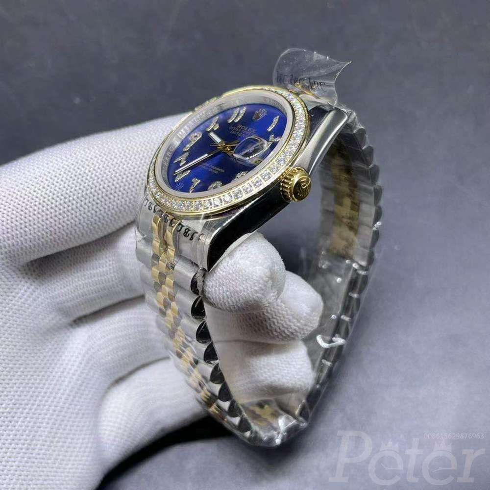 Datejust 36mm two tone gold case blue dial arabic stone numbers jubilee band MH024